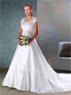 White Satin.Lace Scoop A line Chapel Train Wedding Dress