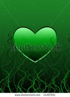 Envious Green Heart Entangled In Vines And Thorns Stock Vector