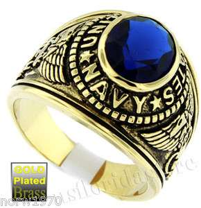 Mens Dark Blue US Navy Military Gold Plated Ring Size 13 3/4
