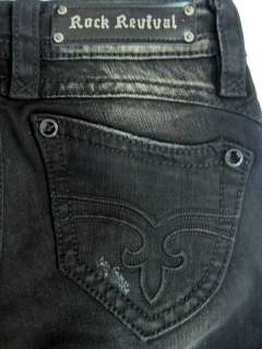 Rock Revival womens amy skinny black weathered jeweled jeans 25 $168