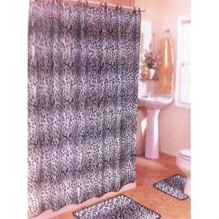 15 pc Bath rug set black leopard animal print bathroom shower curtain