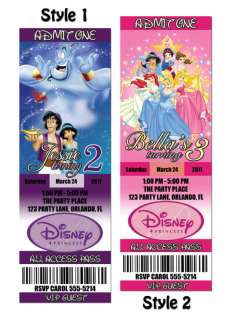 Disney Princess Custom Birthday Party Invitation Ticket