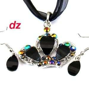 H9035 black Wedding Gemstone Royal Crown Necklace Pendant Earrings Set