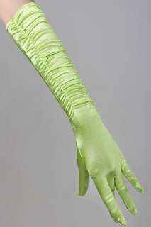16 Green Bridal Satin Gloves Pleated Wedding Opera Prom Dress Party