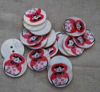 Natural Shell Zakka Sewing Buttons Russian Doll   Red