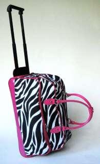 20 Duffel/Tote Bag Rolling Luggage/Wheels Zebra Pink