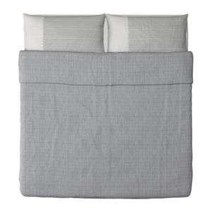 Ikea HENNY VÄV Duvet cover and pillowcase(s) King gray blue white