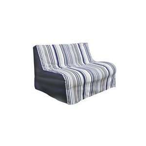 E Frame Twin Size Deco Pleated Slipcover in Newport Blue