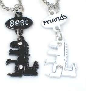 New Best Friend Robot Dinosaurs 2 Pendant 2 Necklace Friendship Black