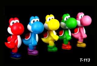 5Pcs Nintendo Video Game Super Mario Bro Yoshi Action Figure Toys 5
