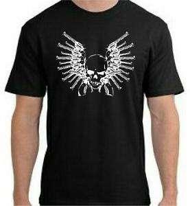 Skull & Gun Wings T Shirt   You Pick Color