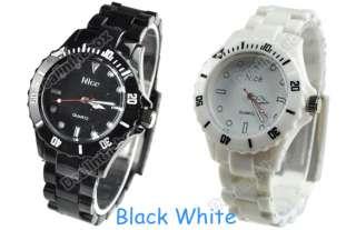 colors Plastic Wrist Watch Men Women Lady Wristwatch