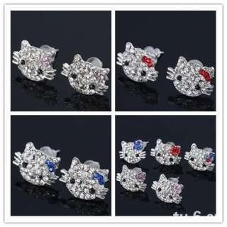 10x Cute HELLOKITTY CAT Rhinestone Nickel Free Ear Stud Earrings