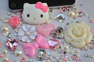 Deco Kit Hello Kitty Flower Bow Heart Bling Case Cover For I Phone 4