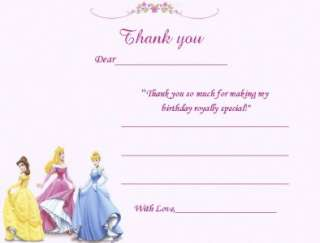 10 CUSTOM DISNEY PRINCESS INVITATIONS OR THANK YOUS