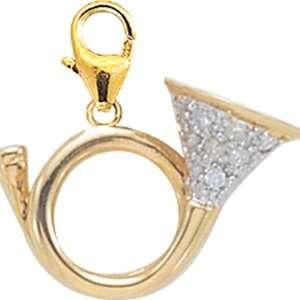 14K DIAMOND FRENCH HORN CHARM  YELLOW GOLD Jewelry