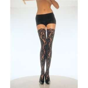 Black Lace Thigh Highs With Lace Top