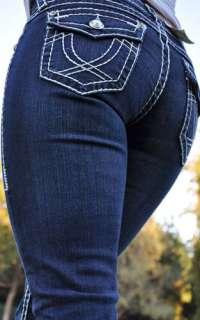 LA Idol jeans SZ 0 15 DARK BLUE white stitching BOOT CUT FAST SHIPPING