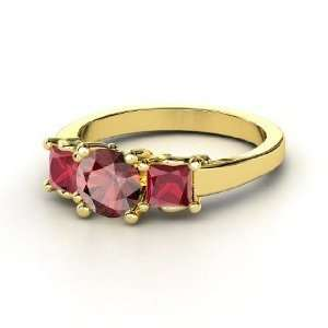 Christy Ring, Round Red Garnet 14K Yellow Gold Ring with