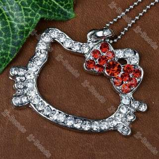 Silver Plated Crystal Rhinestone Hot Red Cute Hellokitty Pendant 1PC