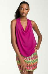 Haute Hippie Drape Neck Sleeveless Silk Top