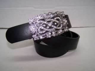 Liz Claiborne Black Leather Belt Silver Rhinestone Buckle Medium EUC