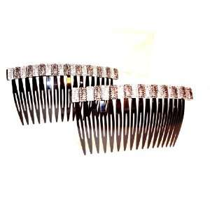 Hair Combs One Pair Flashy Rhinestone Hair Combs Silver Bling Beauty