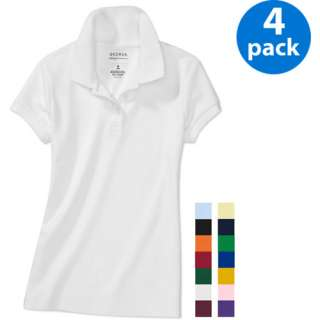 George   Girls Short Sleeve Polo Shirts, 4 Pack Value