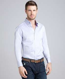 Brunello Cucinelli lavender cotton button down shirt
