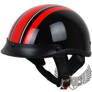 Black Red Vintage PGR Motorcycle DOT Helmet Harley XL