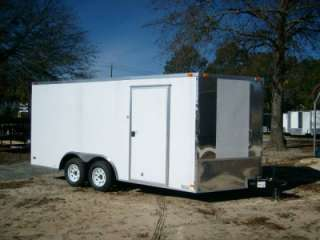 8x16 Enclosed Cargo carhauler Motorcycle Trailer WHITE W CHROME sides