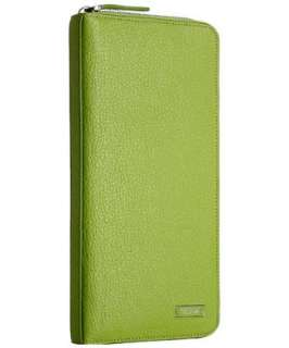 Tumi spring green leather zip travel wallet
