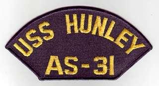 USS HUNLEY AS 31   U.S. NAVY CAP PATCH