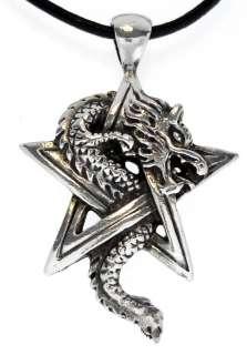 PENTAGRAM DRAGON Silver Pewter Pendant Leather NECKLACE