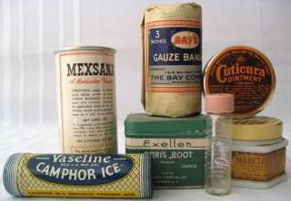 Vintage First Aid Products Tins Jars Bottle Paper