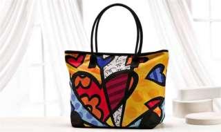 Romero Britto Hearts Large Tote Bag w/ Zipper Top