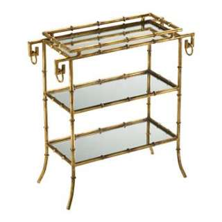 Hollywood Regency Gold Leaf Gilt Bamboo 26 High Side End Table