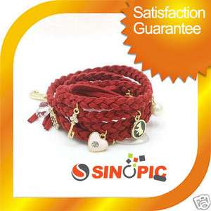 Fashion RED Braid Leather Rope Wrap Charm Bracelet GIFT