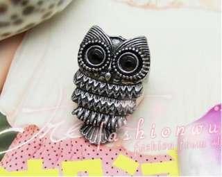 3pcs Ancient Silver Plated Vivid Big Eyes Owl Rings 1