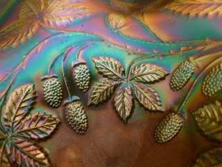 ANTIQUE FENTON EMERALD GREEN BLACKBERRY BRAMBLE CARNIVAL GLASS COMPOTE