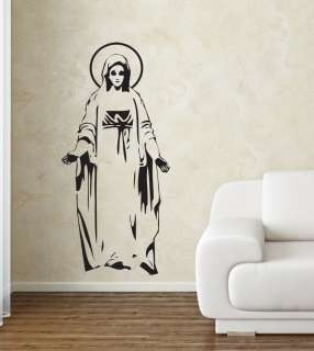 WALL ART DECAL BEAUTIFUL VIRGIN MARY SILHOUETTE STICKER