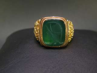 1980 Antique Men Signet Ring 18K Gold Roman Warrior Green Agate