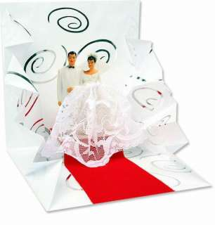 3D Pop up Wedding Greeting Card Bride in Lace Dress Groom Walk Down